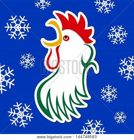 sticker - colored styled rooster yellow beak red comb eye and green body on a blue background with white snowflakes