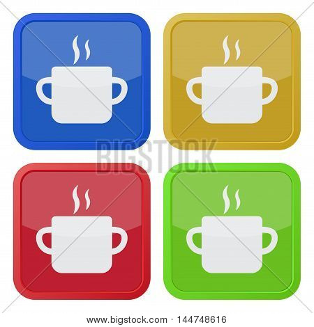 set of four colored square icons - cooking pot with smoke
