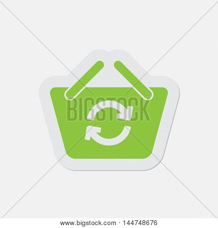 simple green icon with contour and shadow - shopping basket refresh on a white background
