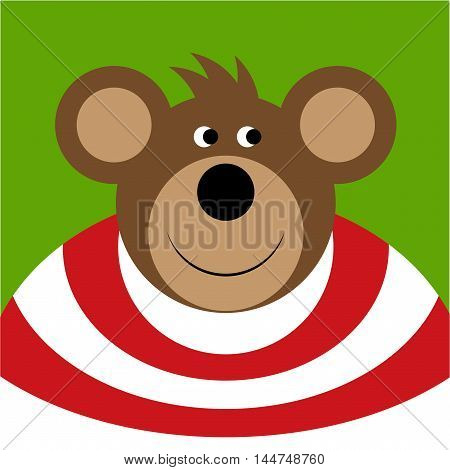 drawing - brown smiling cartoon bear with big ears red white shirt on a green background
