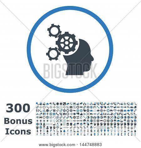 Brain Mechanics rounded icon with 300 bonus icons. Vector illustration style is flat iconic bicolor symbols, smooth blue colors, white background.