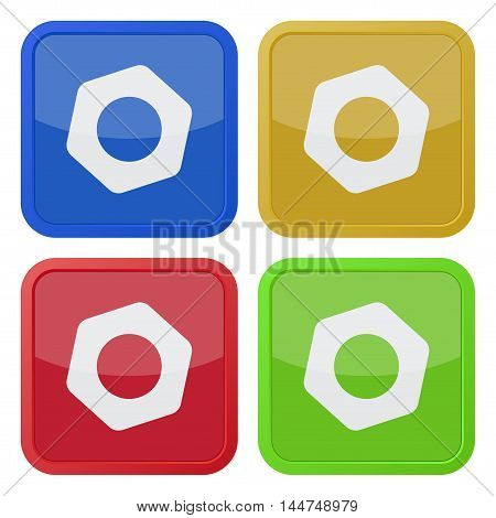set of four colored square icons with nut