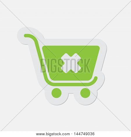 simple green icon with contour and shadow - shopping cart cancel on a white background