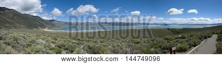 Panoramic view over the landscape at Mono Lake, California
