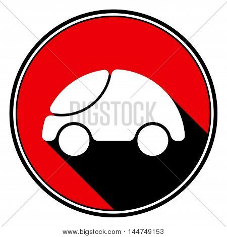 information icon - red circle black outline and white cute rounded car with stylized black shadow