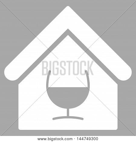 Alcohol Bar icon. Vector style is flat iconic symbol, white color, silver background.