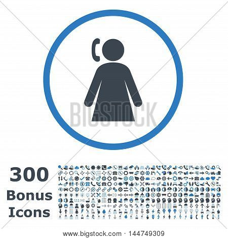 Calling Woman rounded icon with 300 bonus icons. Vector illustration style is flat iconic bicolor symbols, smooth blue colors, white background.