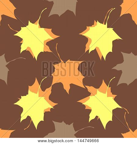 Seamless vector texture Maple Leaves brown Pattern