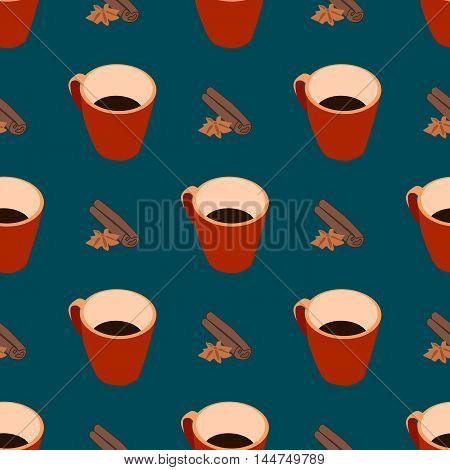 Seamless vector pattern with cuap and cinnamon