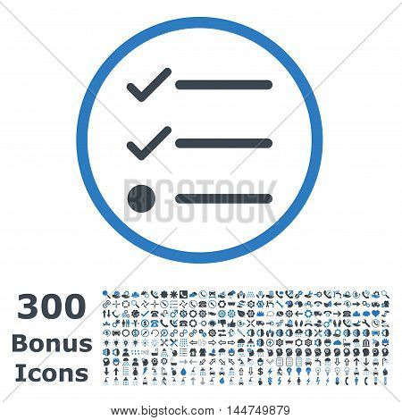 Checklist rounded icon with 300 bonus icons. Vector illustration style is flat iconic bicolor symbols, smooth blue colors, white background.