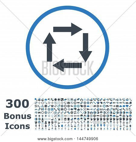 Circulation Arrows rounded icon with 300 bonus icons. Vector illustration style is flat iconic bicolor symbols, smooth blue colors, white background.