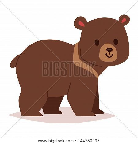 Cute cartoon bear emotions icon. Brown character happy smiling bear drawing mammal teddy smile. Cheerful mascot cartoon bear grizzly, young, baby animal zoo