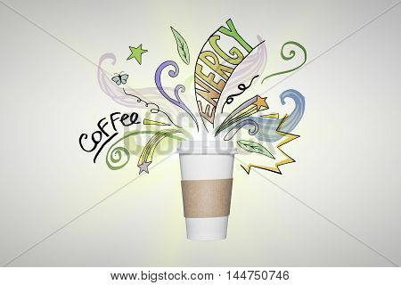 Take away coffee cup with doodles and text on light background