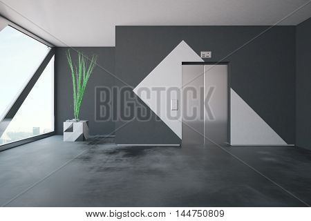 Elevator in concrete interior with patterned walls decorative plant and window with city view and daylight. 3D Rendering