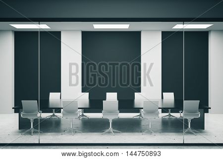 Concrete conference room interior with empty black posters. Mock up 3D Rendering