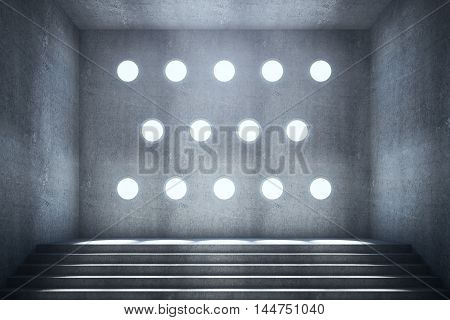 Abstract concrete interior with stairs and round holes in textured wall. 3D Rendering