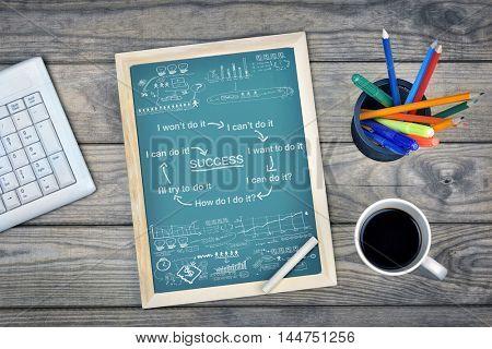 Success scheme on school board and coffee on desk