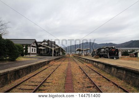 Former Taisha station and steam locomotive in Izumo Shimane Japan
