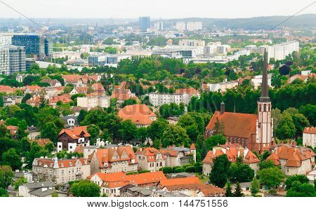 landscape. view from tower of sea and district gdansk danzig polish city suburb buildings houses exterior.
