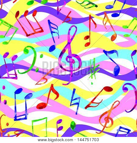 Music pattern. Music notes and signs seamless background