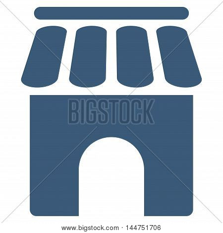 Shop Building icon. Vector style is flat iconic symbol, blue color, white background.