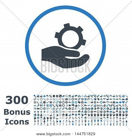 Engineering Service rounded icon with 300 bonus icons. Vector illustration style is flat iconic bicolor symbols, smooth blue colors, white background.