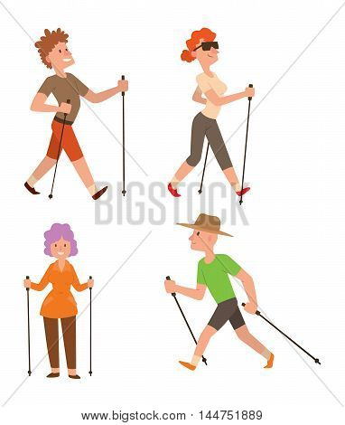 Group of nordic walkers vector character set fun leisure happy people. Nordic walking sport healthy lifestyle exercise leisure. Hiking recreation training nordic walking sport active people.