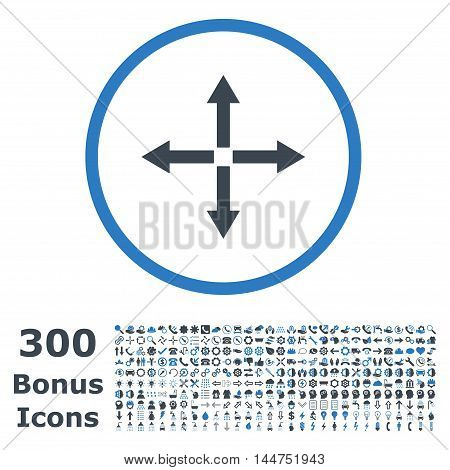 Expand Arrows rounded icon with 300 bonus icons. Vector illustration style is flat iconic bicolor symbols, smooth blue colors, white background.