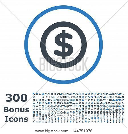 Finance rounded icon with 300 bonus icons. Vector illustration style is flat iconic bicolor symbols, smooth blue colors, white background.