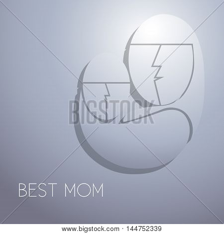 Best mom Vector illustration Postcard with the image of mother and her baby with inscription Best mom