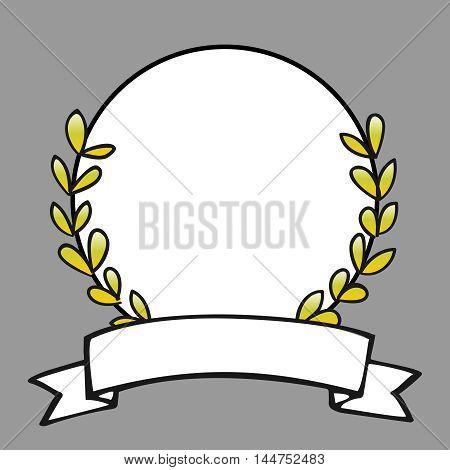 Laurel wreath decorative vector frame on grey background