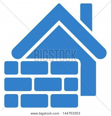Realty Brick Wall icon. Vector style is flat iconic symbol, cobalt color, white background.