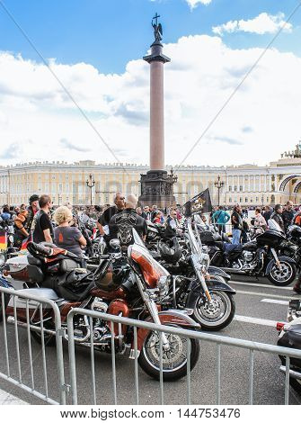 St. Petersburg, Russia - 13 August, Motorcycles on the background of the Alexander Column,13 August, 2016. The annual International Motor Festival Harley Davidson in St. Petersburg.