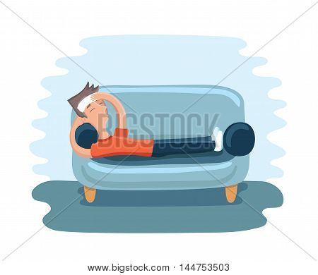 Vector illustration of cartoon man lying with a compress on the foreheadon on sofa and suffering with headache
