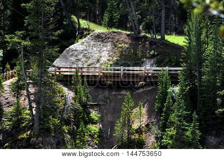 Wooden boardwalk is part of footpath around the rim of the Grand Canyon of the Yellowstone in Yellowstone National Park. Evergreen trees surround the deserted bridge.