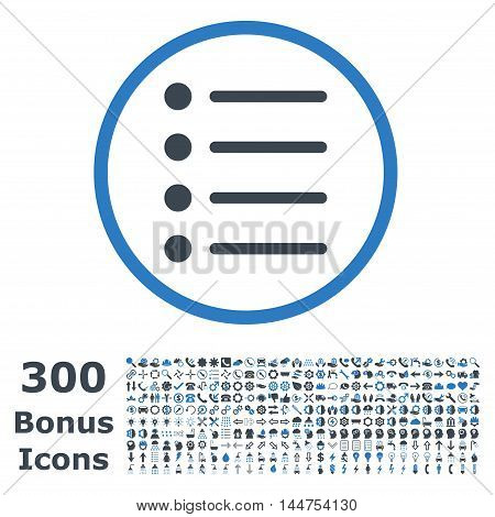 Items rounded icon with 300 bonus icons. Vector illustration style is flat iconic bicolor symbols, smooth blue colors, white background.