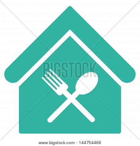 Food Court icon. Vector style is flat iconic symbol, cyan color, white background.