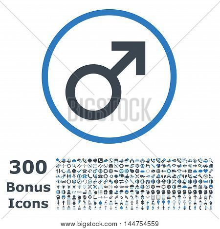 Male Symbol rounded icon with 300 bonus icons. Vector illustration style is flat iconic bicolor symbols, smooth blue colors, white background.