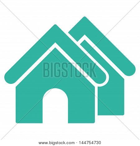 Real Estate icon. Vector style is flat iconic symbol, cyan color, white background.