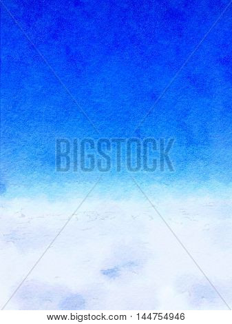 Digital watercolor painting background of white clouds in the blue sky with space for text.