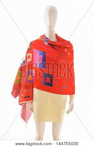 women dress with red scarf on dummy â??white background