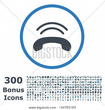 Phone Ring rounded icon with 300 bonus icons. Vector illustration style is flat iconic bicolor symbols, smooth blue colors, white background.