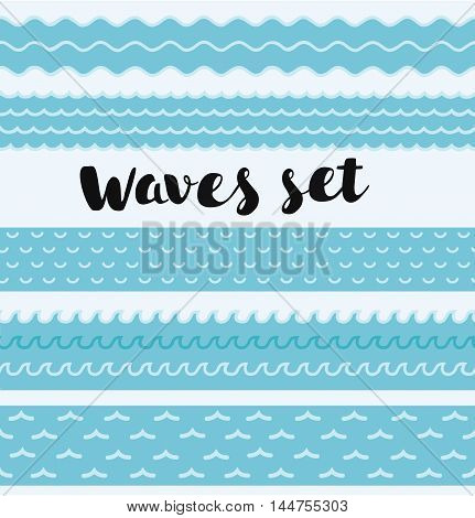 Vector blue horisontal seamless water waves set on white background.