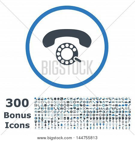 Pulse Dialing rounded icon with 300 bonus icons. Vector illustration style is flat iconic bicolor symbols, smooth blue colors, white background.