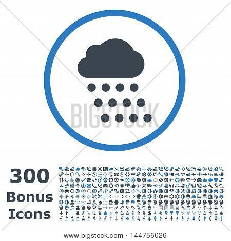 Rain Cloud rounded icon with 300 bonus icons. Vector illustration style is flat iconic bicolor symbols, smooth blue colors, white background.