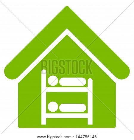 Hostel icon. Vector style is flat iconic symbol, eco green color, white background.