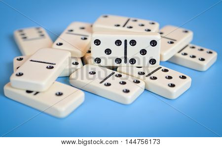 dominoes isolated on white background. Selective focus