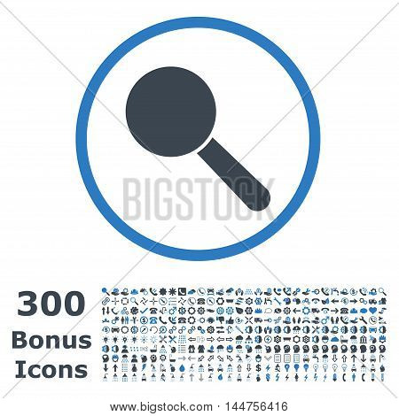 Search Tool rounded icon with 300 bonus icons. Vector illustration style is flat iconic bicolor symbols, smooth blue colors, white background.