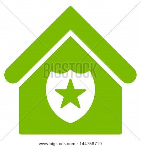 Realty Protection icon. Vector style is flat iconic symbol, eco green color, white background.