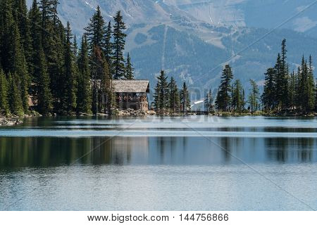 Lake Agnes Tea House across from its namesake lake in the Canadian Rockies